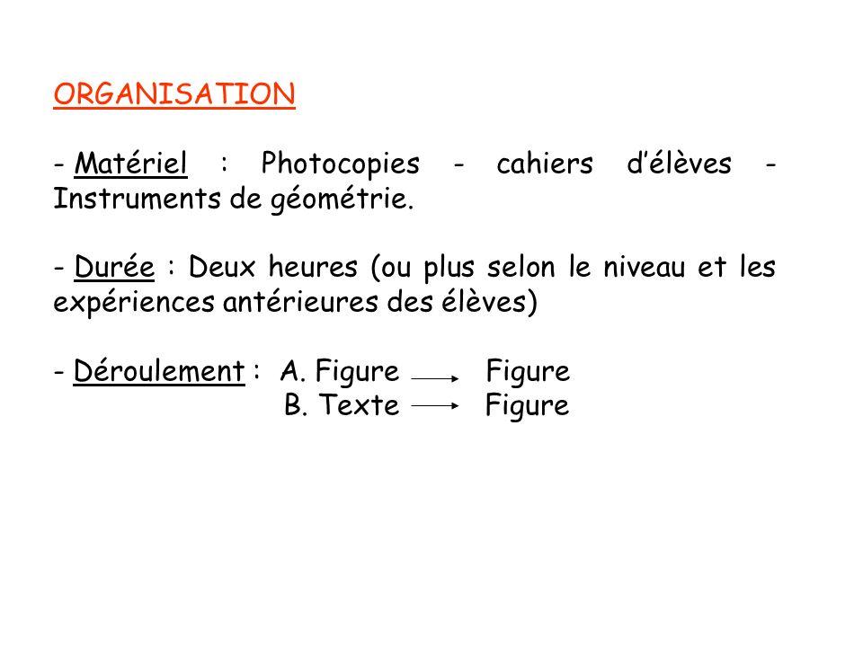 ORGANISATION Matériel : Photocopies - cahiers d'élèves - Instruments de géométrie.