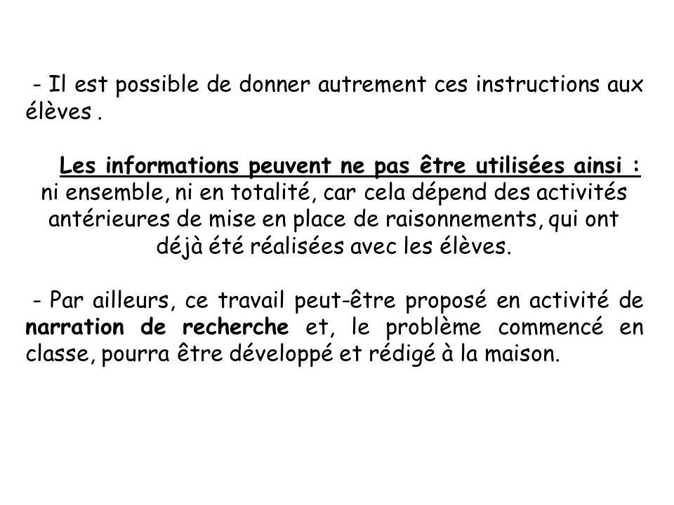 - Il est possible de donner autrement ces instructions aux élèves .