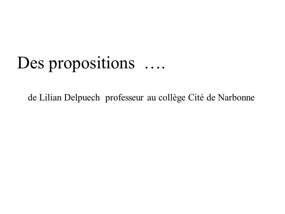 Des propositions …. de Lilian Delpuech professeur au collège Cité de Narbonne