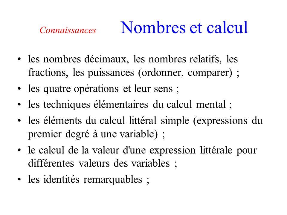 Connaissances Nombres et calcul