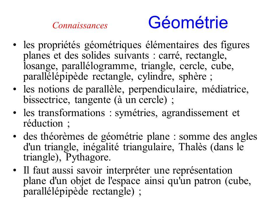 Connaissances Géométrie
