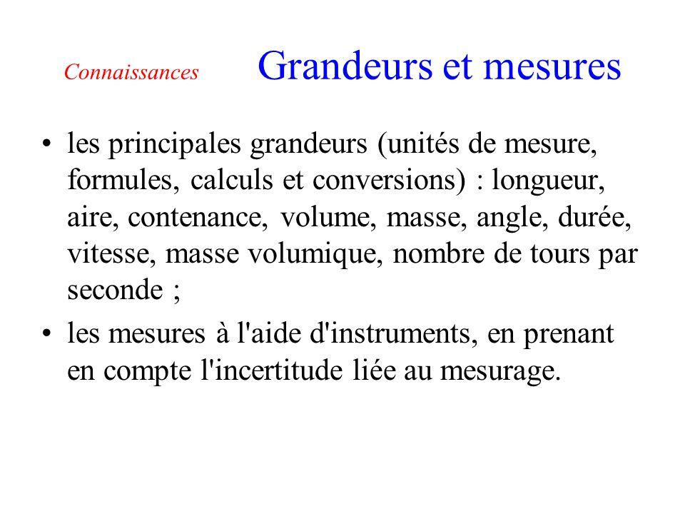 Connaissances Grandeurs et mesures