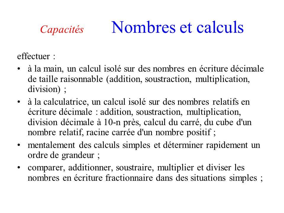 Capacités Nombres et calculs