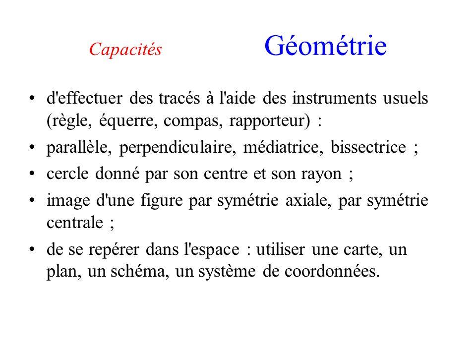 Capacités Géométrie d effectuer des tracés à l aide des instruments usuels (règle, équerre, compas, rapporteur) :