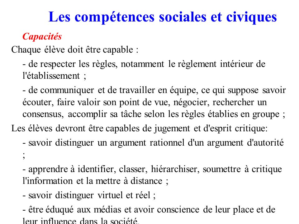 Les compétences sociales et civiques Capacités