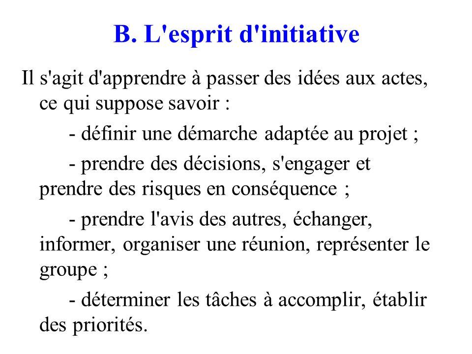 B. L esprit d initiative Il s agit d apprendre à passer des idées aux actes, ce qui suppose savoir :