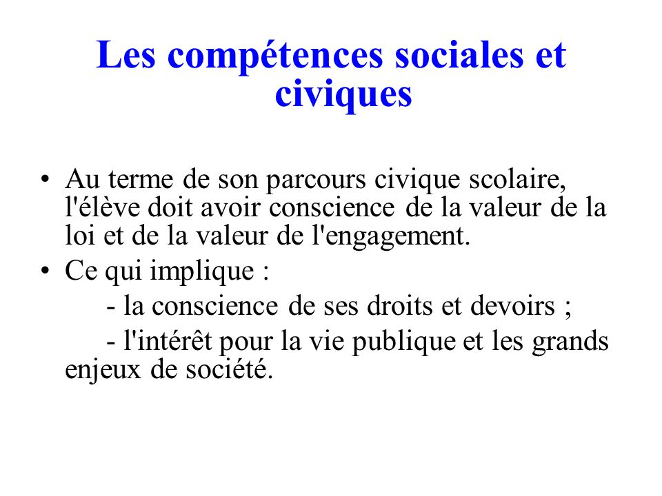 Les compétences sociales et civiques