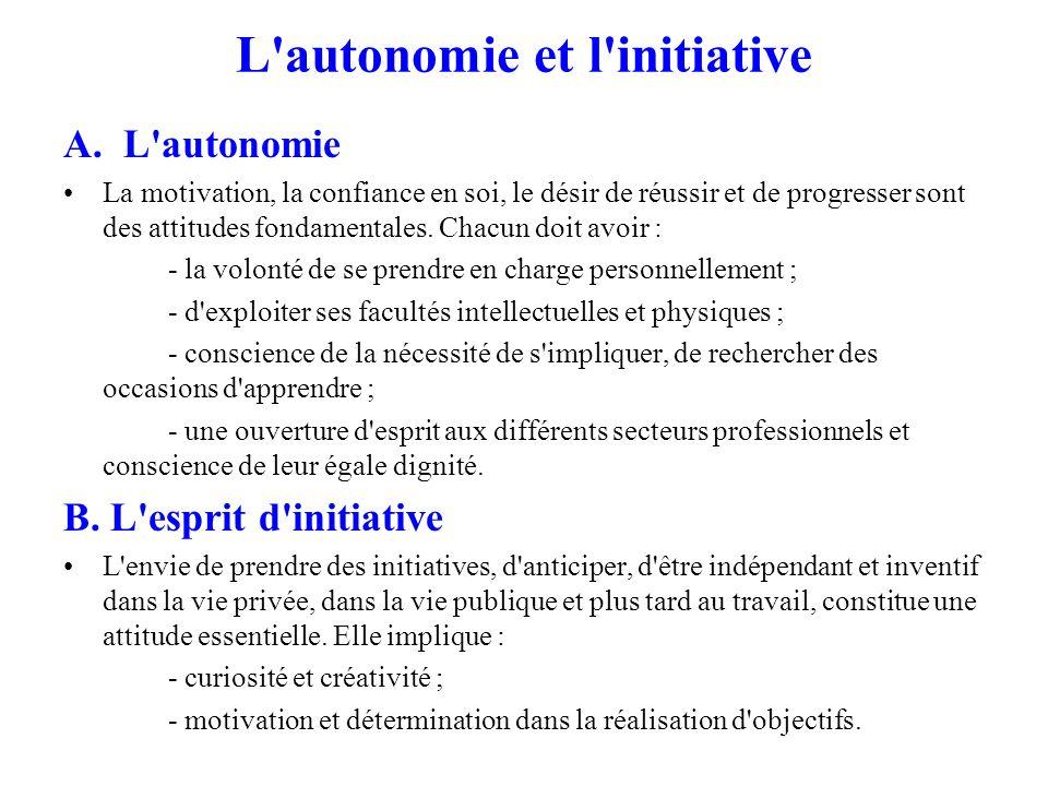 L autonomie et l initiative