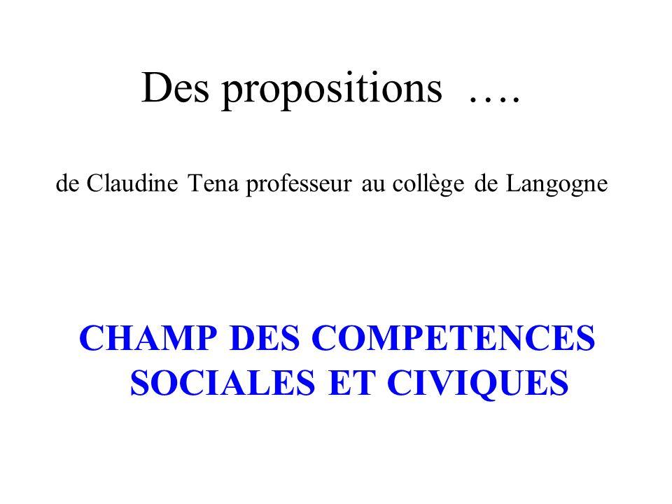 Des propositions …. de Claudine Tena professeur au collège de Langogne