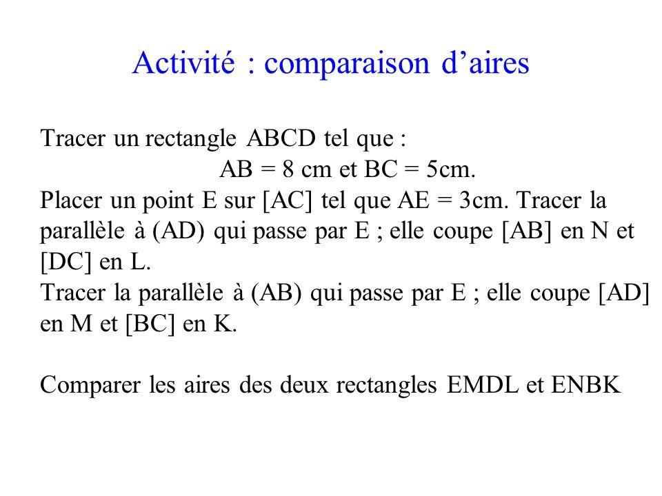 Activité : comparaison d'aires