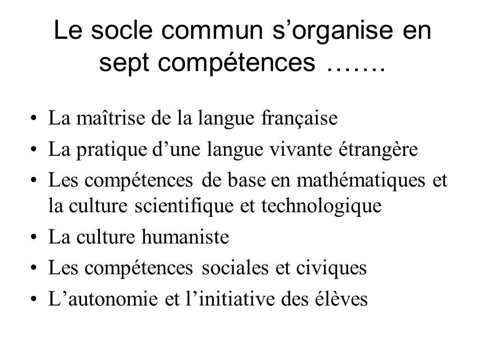 Le socle commun s'organise en sept compétences …….