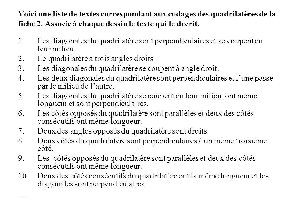 Voici une liste de textes correspondant aux codages des quadrilatères de la fiche 2. Associe à chaque dessin le texte qui le décrit.
