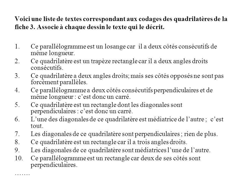Voici une liste de textes correspondant aux codages des quadrilatères de la fiche 3. Associe à chaque dessin le texte qui le décrit.