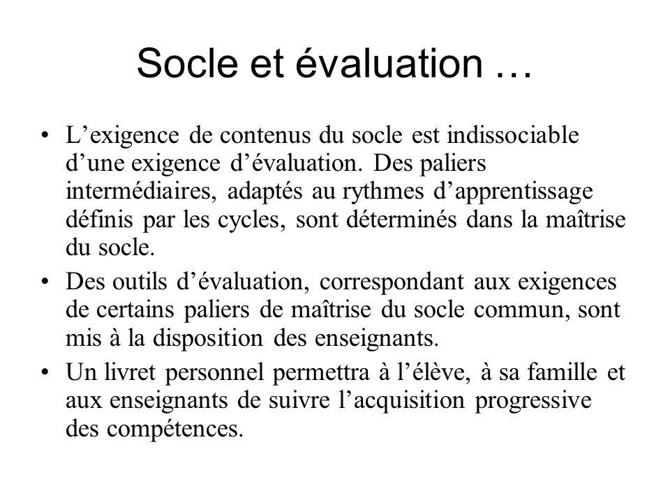Socle et évaluation …