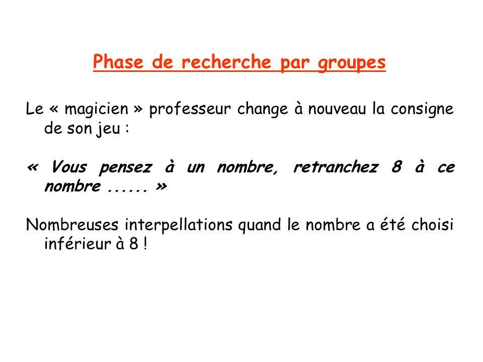 Phase de recherche par groupes