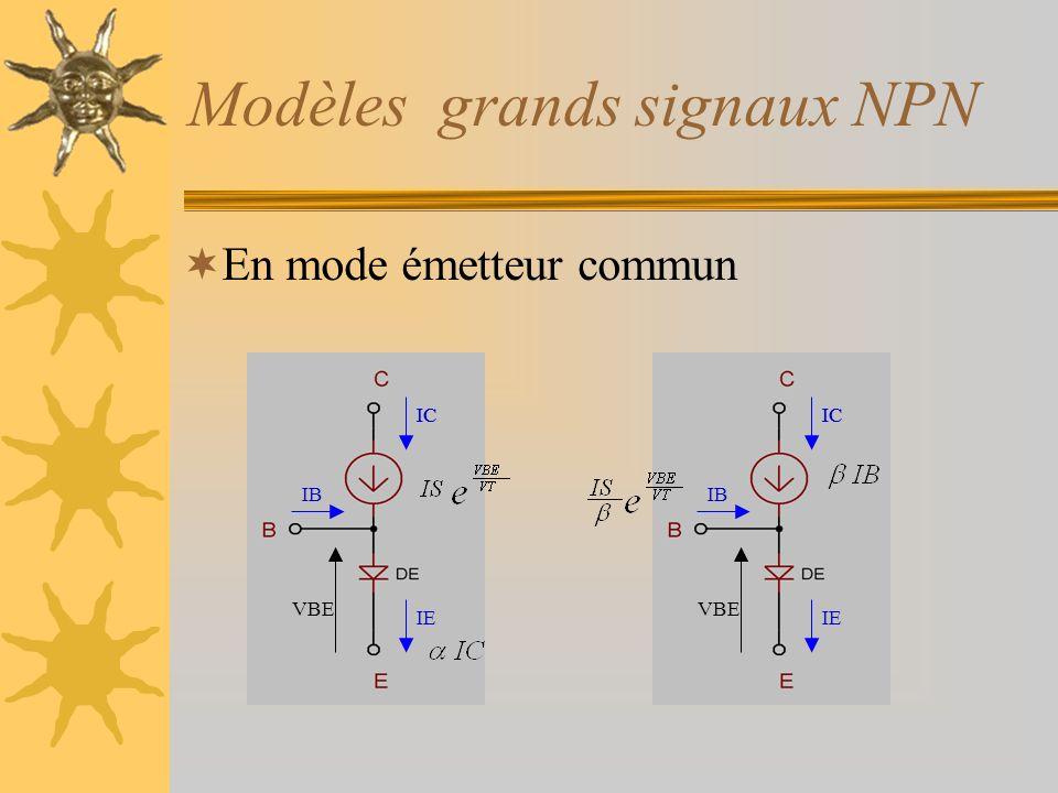 Modèles grands signaux NPN