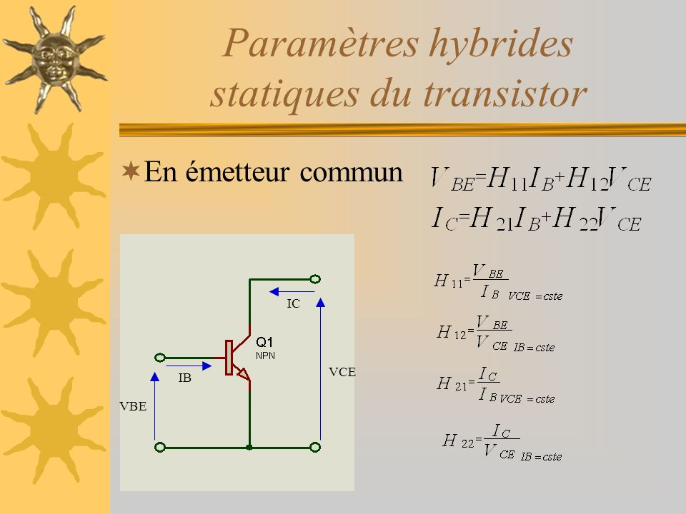 Paramètres hybrides statiques du transistor