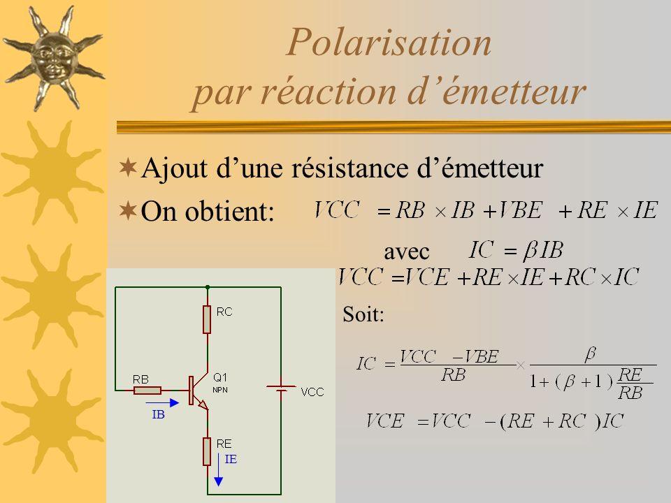 Polarisation par réaction d'émetteur