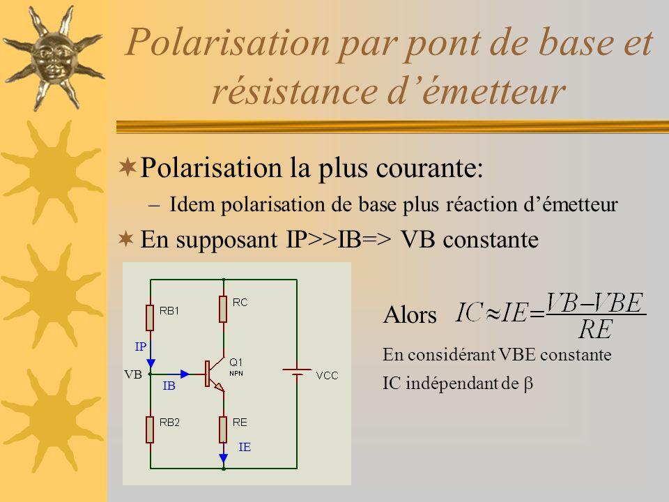 Polarisation par pont de base et résistance d'émetteur