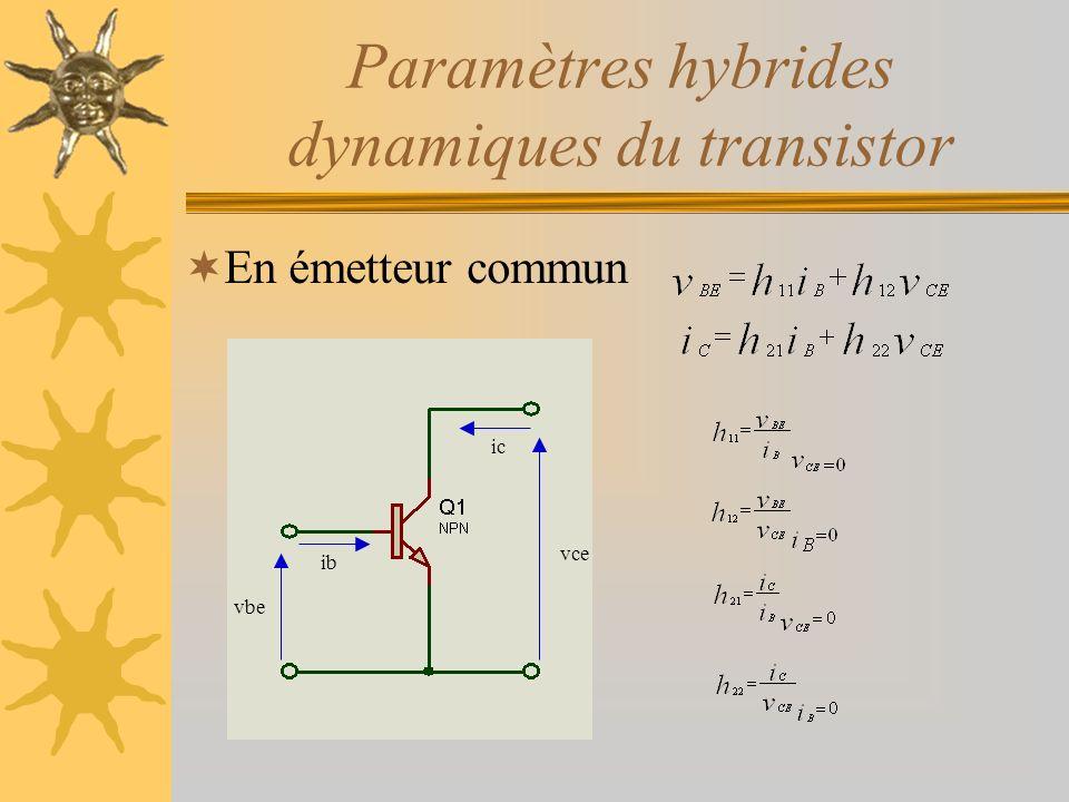 Paramètres hybrides dynamiques du transistor