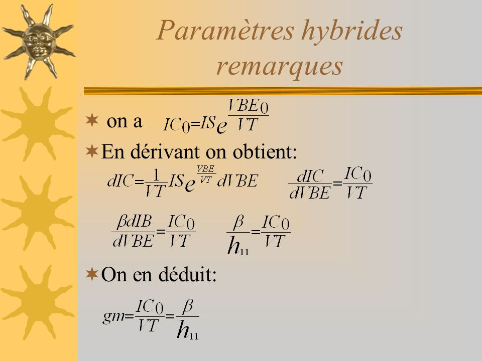Paramètres hybrides remarques