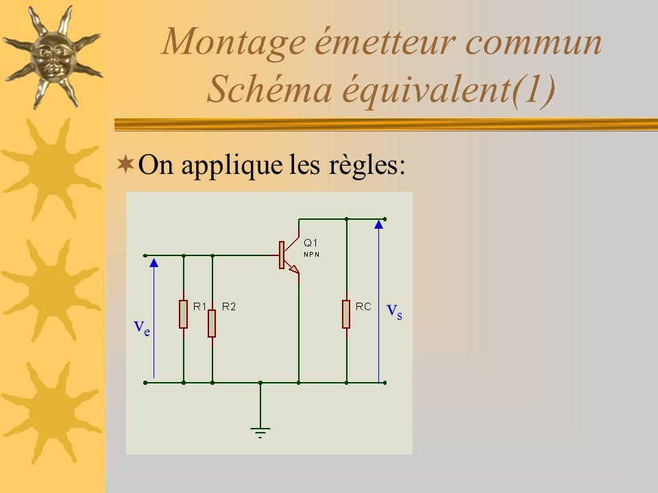 Montage émetteur commun Schéma équivalent(1)