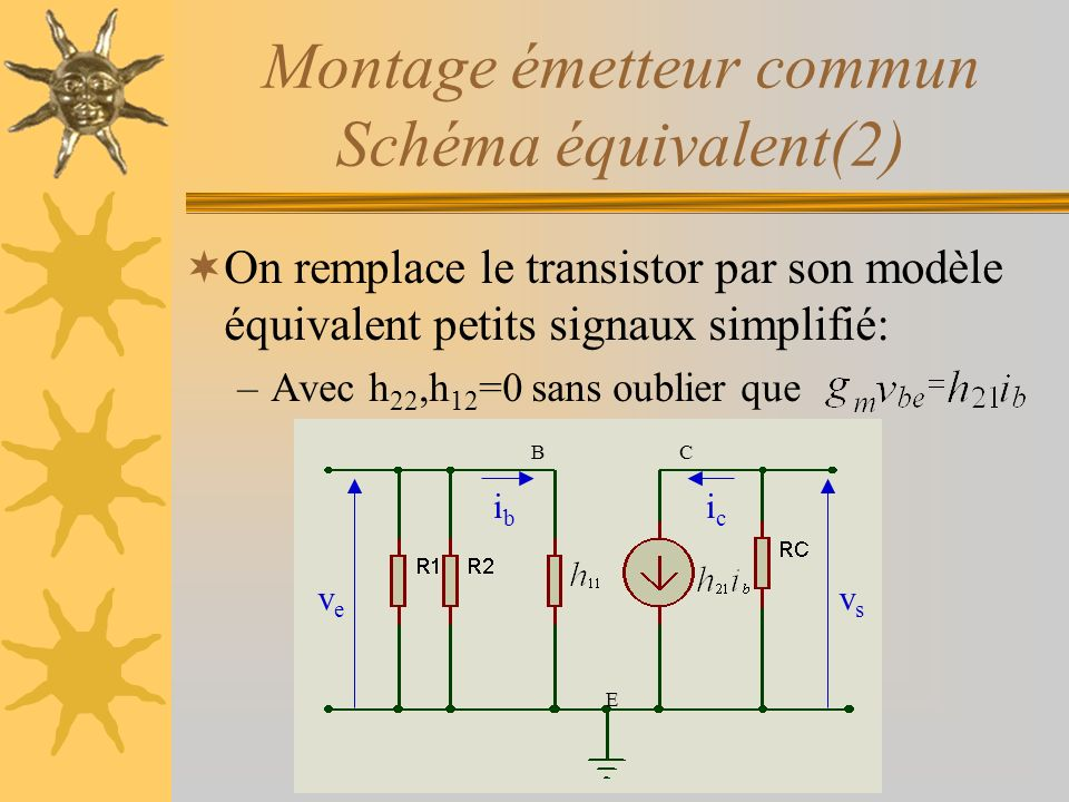 Montage émetteur commun Schéma équivalent(2)