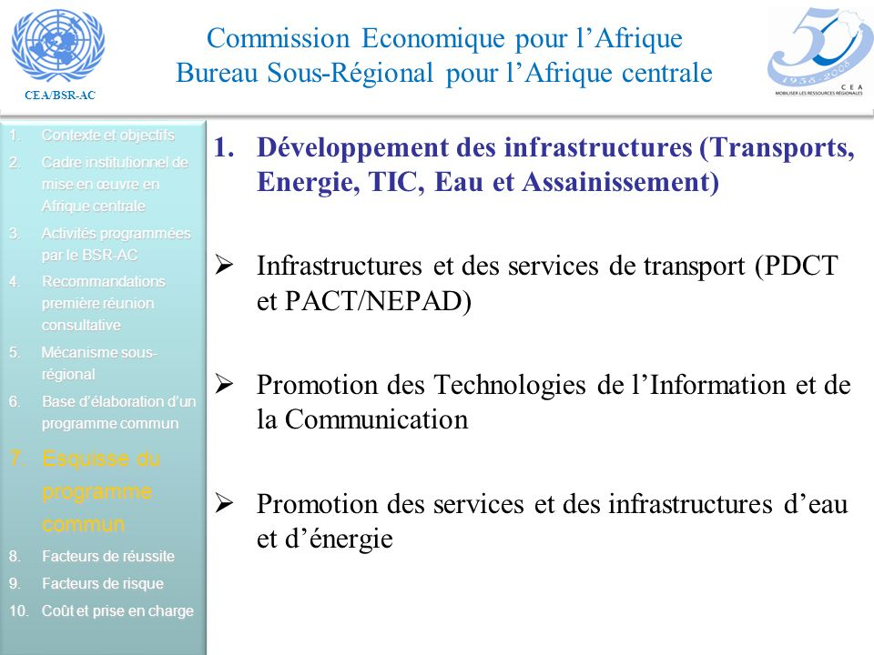 Infrastructures et des services de transport (PDCT et PACT/NEPAD)