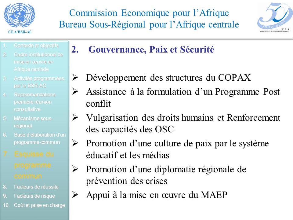 Gouvernance, Paix et Sécurité Développement des structures du COPAX