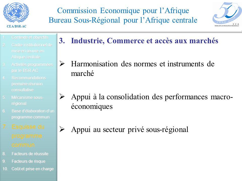 Industrie, Commerce et accès aux marchés