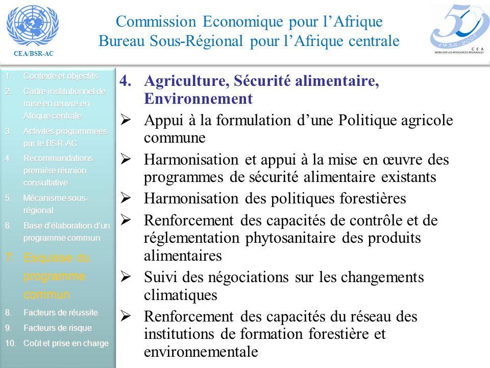 Agriculture, Sécurité alimentaire, Environnement