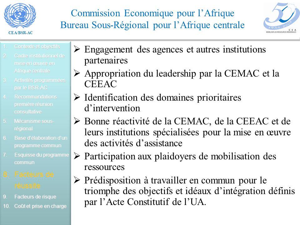 Engagement des agences et autres institutions partenaires