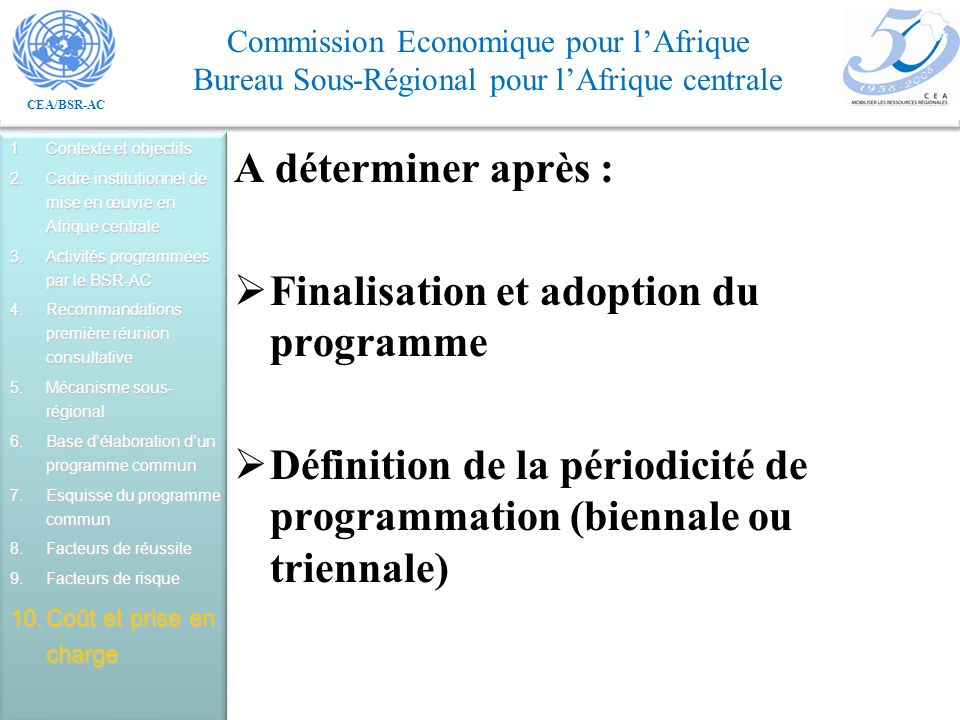 Finalisation et adoption du programme