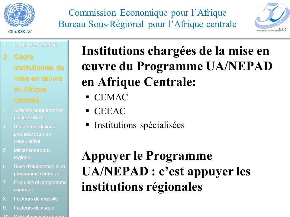 Contexte et objectifs Cadre institutionnel de mise en œuvre en Afrique centrale. Activités programmées par le BSR-AC.