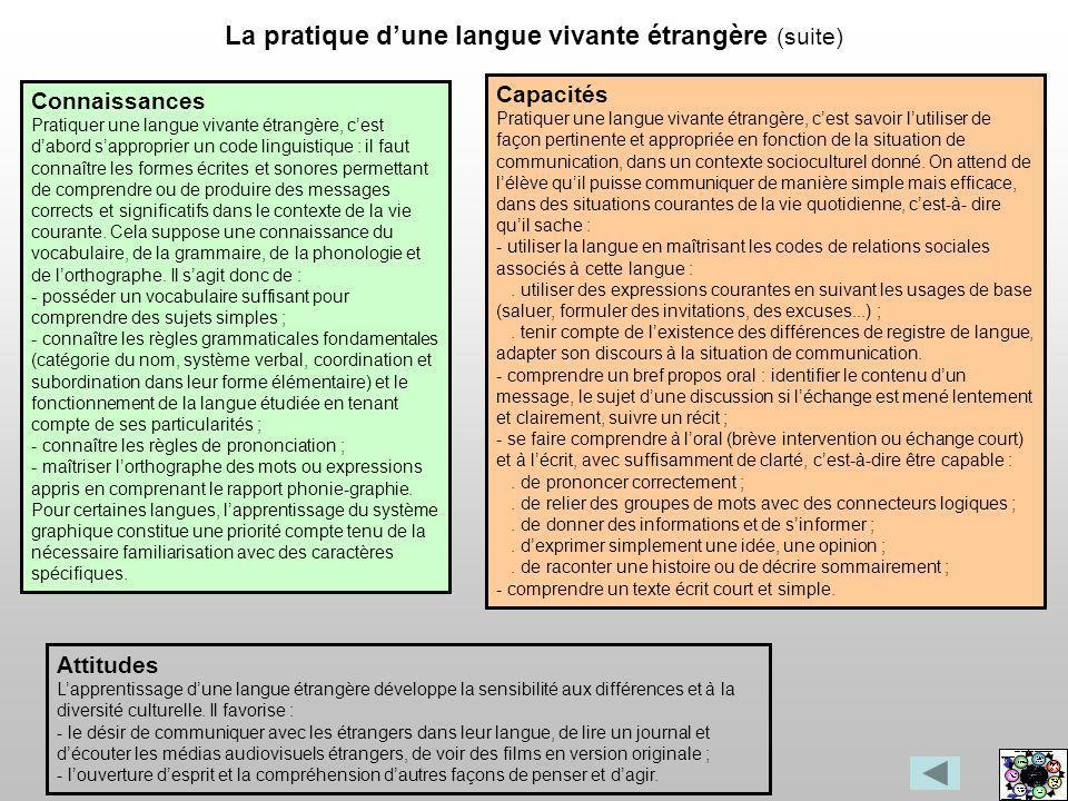 La pratique d'une langue vivante étrangère (suite)