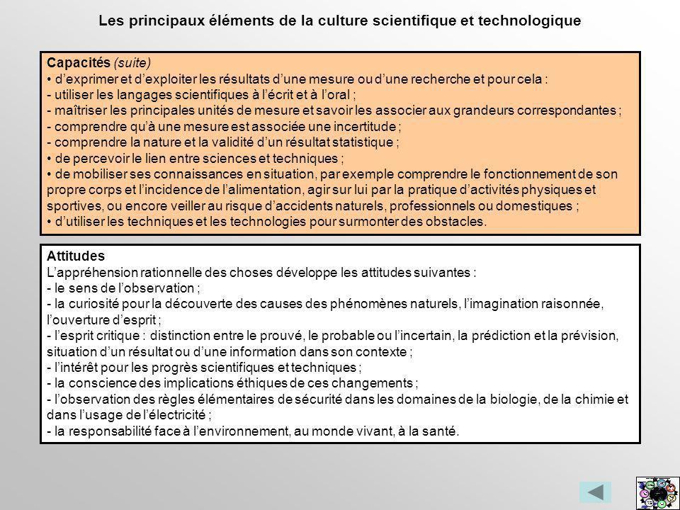 Les principaux éléments de la culture scientifique et technologique