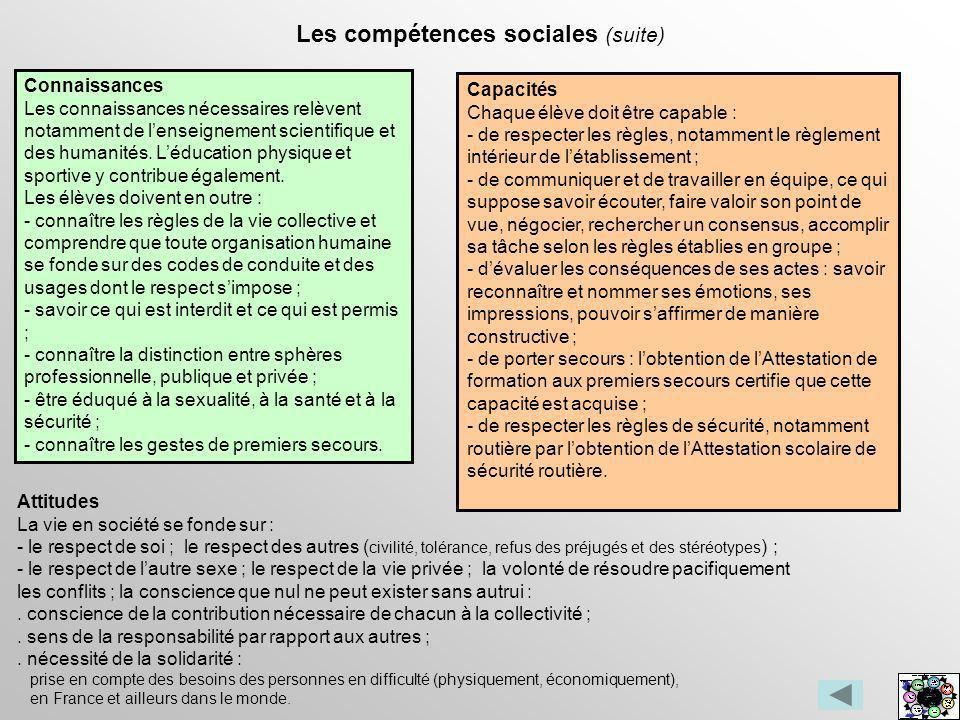 Les compétences sociales (suite)
