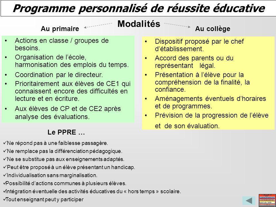Programme personnalisé de réussite éducative