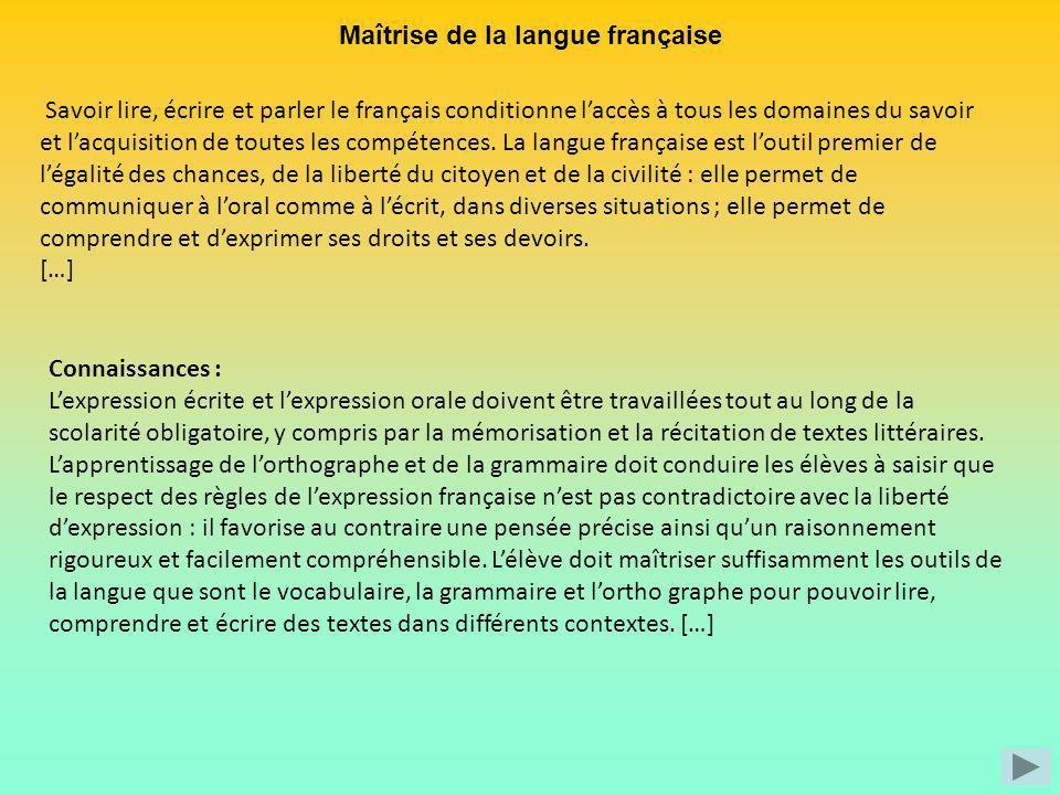 Maîtrise de la langue française