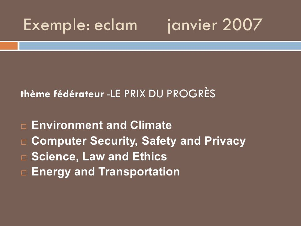 Exemple: eclam janvier 2007