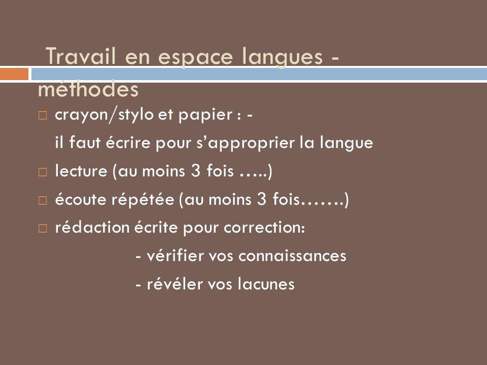 Travail en espace langues - méthodes