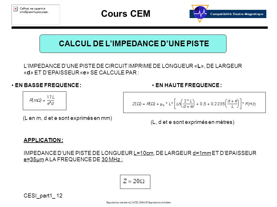 CALCUL DE L'IMPEDANCE D'UNE PISTE