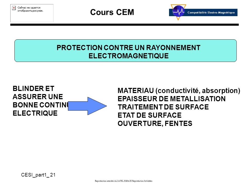 PROTECTION CONTRE UN RAYONNEMENT ELECTROMAGNETIQUE