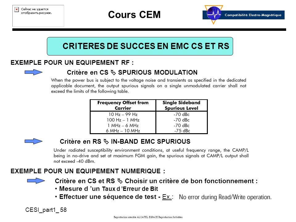 CRITERES DE SUCCES EN EMC CS ET RS