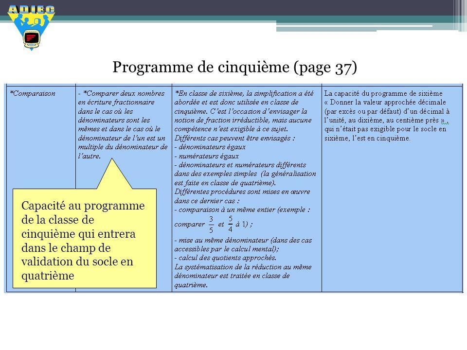 Programme de cinquième (page 37)