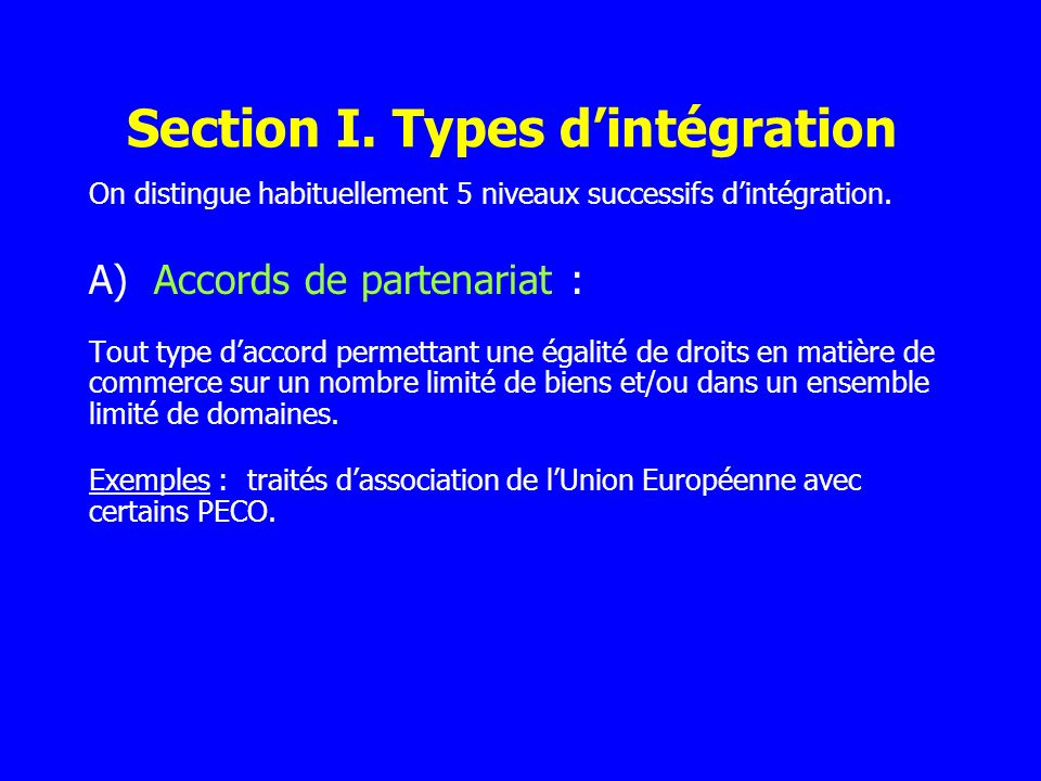 Section I. Types d'intégration
