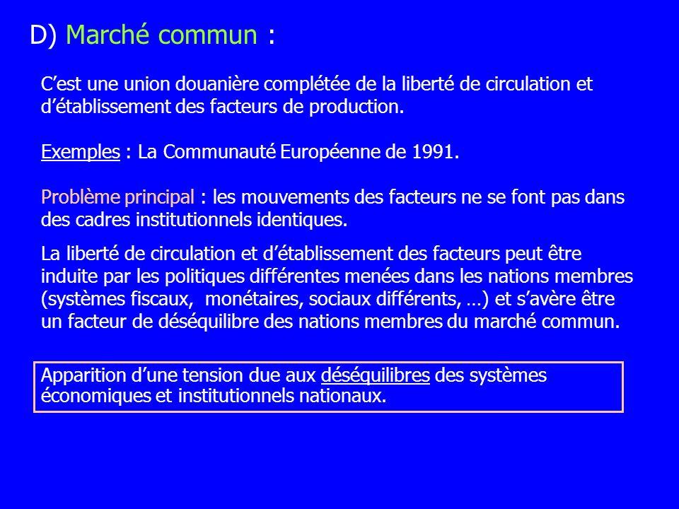 D) Marché commun : C'est une union douanière complétée de la liberté de circulation et d'établissement des facteurs de production.
