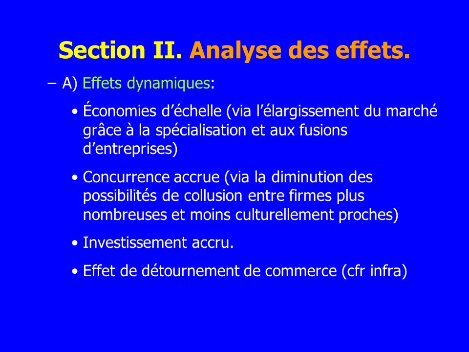 Section II. Analyse des effets.