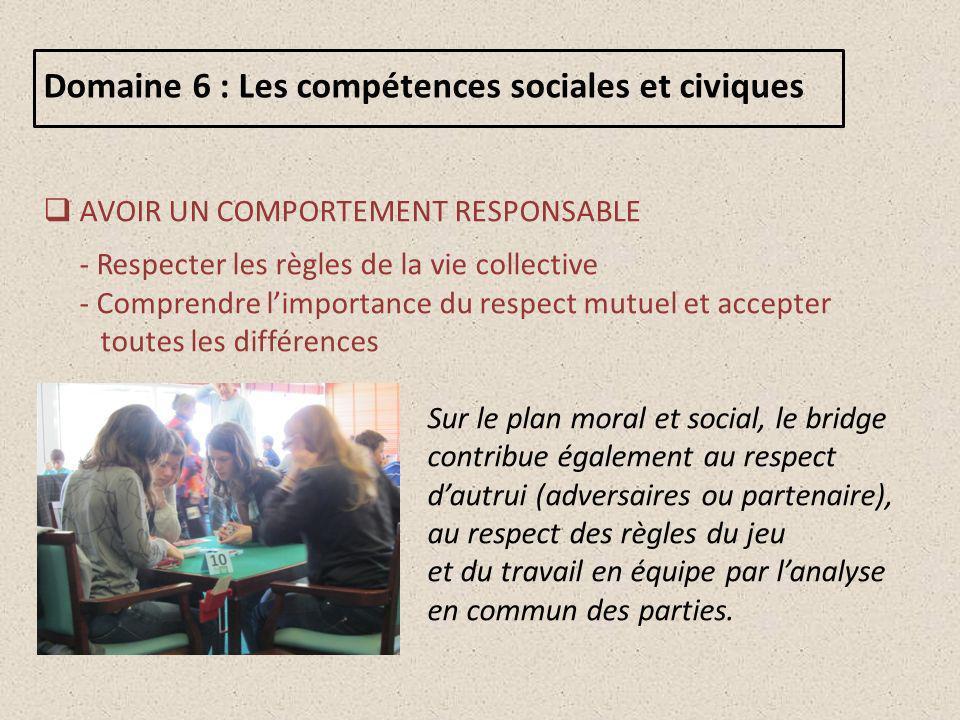 Domaine 6 : Les compétences sociales et civiques
