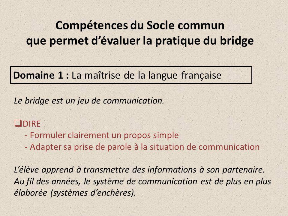 Compétences du Socle commun que permet d'évaluer la pratique du bridge